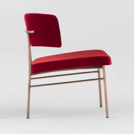 Living Room Armchair in Velvet with Metal Structure Made in Italy - Alaska