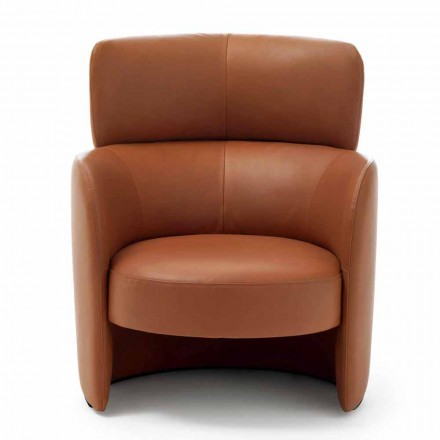 Living Room Armchair Upholstered in High Quality Made in Italy Leather - Mango