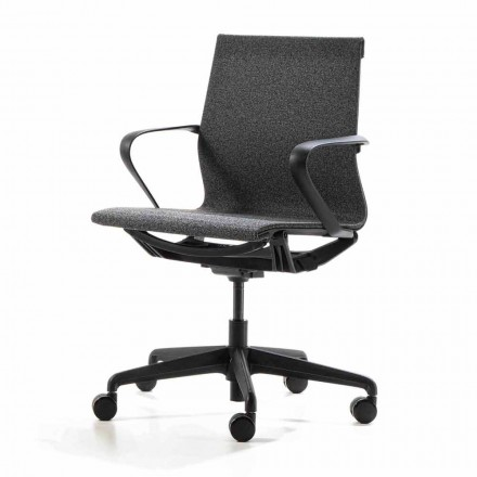 Office Armchair with Gas Lift in Anthracite Color Technical Fabric - Selia