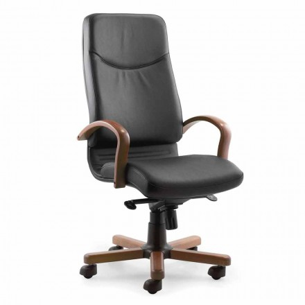 Directional Office Armchair with Base and Armrest in Beech Wood - Savino