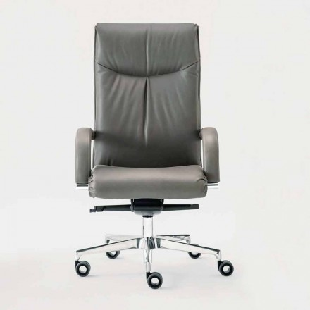 Office Armchair Rotating in Leather and Eco-leather – Oliviero