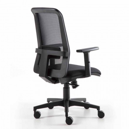 Swivel Office Armchair with Gas Lift in Technical Fabric and Mesh - Office