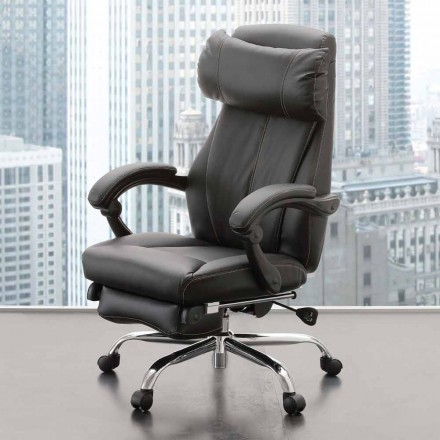 Rotating and Reclining Office Armchair in Black Eco-leather – Nazzareno