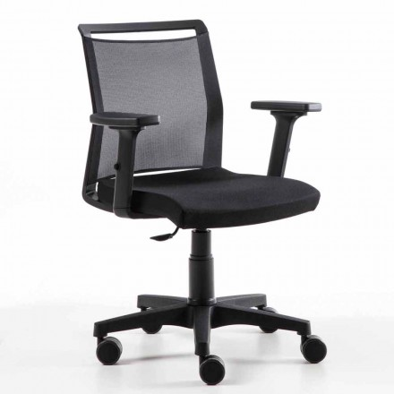 Swivel Office Armchair in Technical Fabric and Black Mesh - Daria