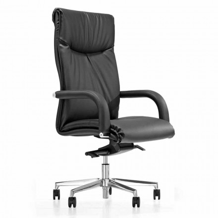 Presidential Office Chair with Black Faux Leather Wheels - Tomomi