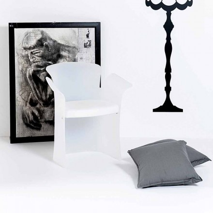 Modern design white armchair made of plexiglass Tulipano,made in Italy