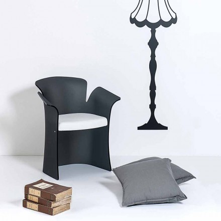Modern design black armchair made of plexiglass Tulipano,made in Italy