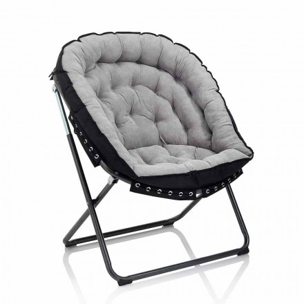 Design Armchair in Light Gray Velvet with Black Metal Structure - Tronia