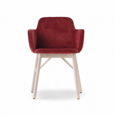 High Quality Armchair with Velvet or Fabric Seat Made in Italy - Molde