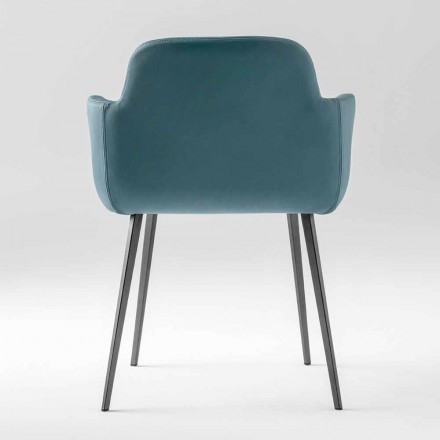 High Quality Armchair in Leather and Painted Metal Made in Italy - Molde