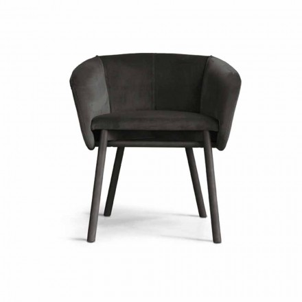 High Quality Velvet Armchair with Beech Base Made in Italy - Bergen