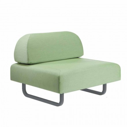 Outdoor Design Armchair in Metal and Fabric Made in Italy - Selia