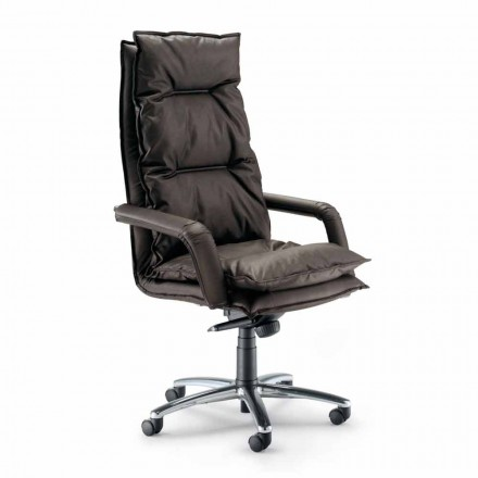 Executive design faux leather armchair, made in Italy, Gemma
