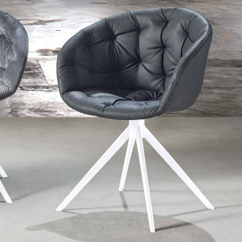 Modern Design Armchair, with Capitonnè Manufacturing - Enea