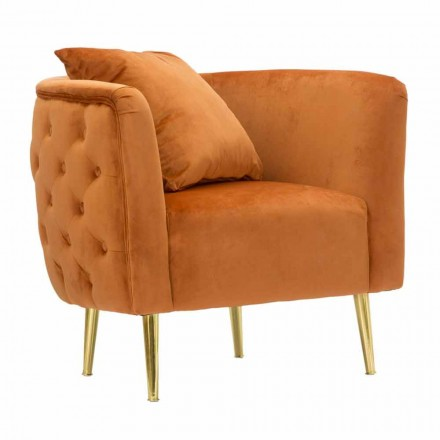 Modern Design Lounge Armchair in Velvet, Wood and Iron - Ruthie