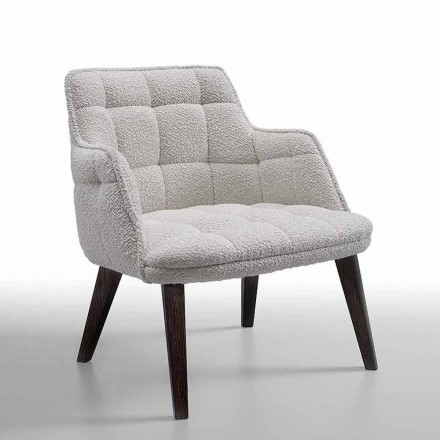 Luxury Armchair Upholstered in Fabric with Wooden Legs Made in Italy - Clera