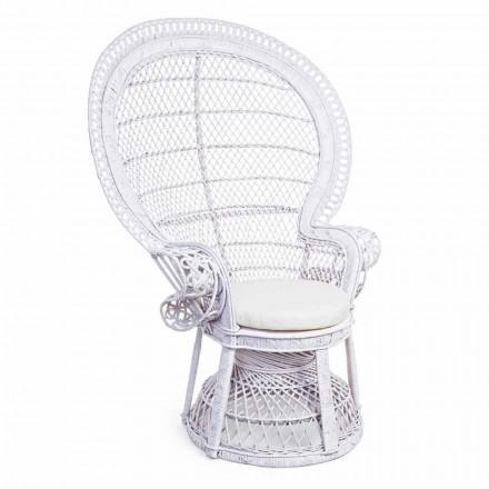 Luxury Design Garden Armchair in White Rattan for Outdoor - Serafina