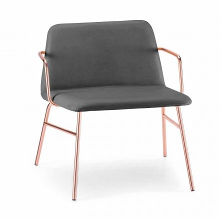 Luxury Velvet Armchair with Metal Structure Made in Italy - Molde