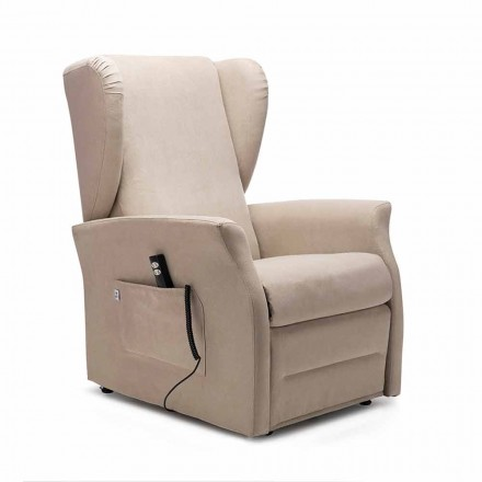 Eletric recliner armchair, with weels, 2 Motors, Made in Italy - Daphne
