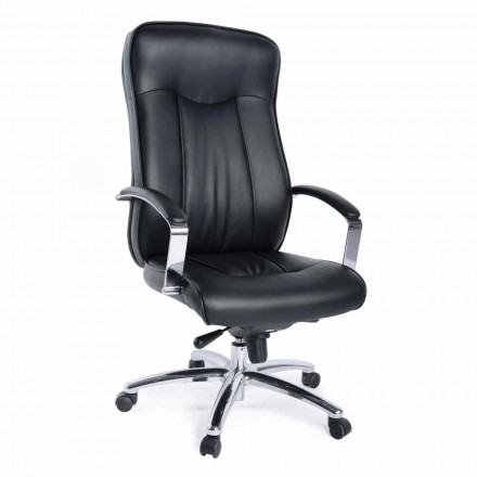 Directional Office Rotating Armchair in Leather and Metal Base – Virone