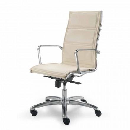 Full grain leather executive office chair Agata, modern design