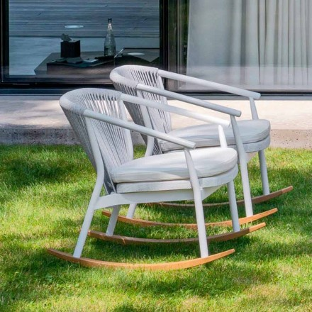 Garden Rocking Armchair in Solid Wood and Fabric - Smart by Varaschin
