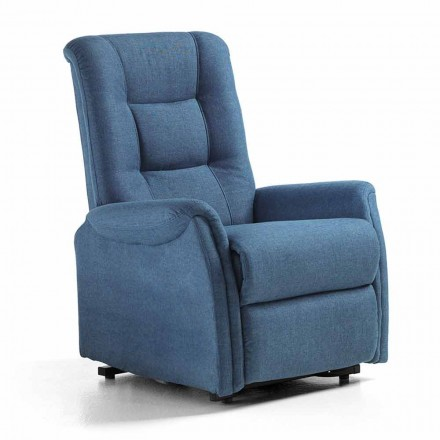 Relax Armchair with Person Lift System, 2 Motors, in Tissue - Victoire