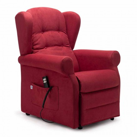 Riser recliner armchair, with 2 Motors and Wheels, Made in Italy - Marlene