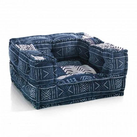 Ethnic Lounge Armchair in Patchwork Fabric or Velvet - Fiber