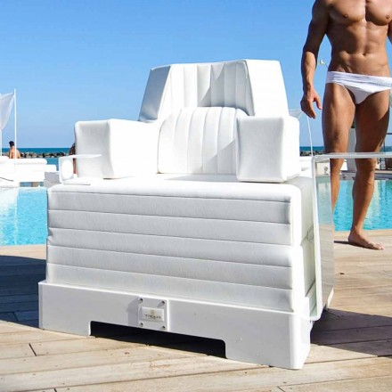 Modern design white floating pool lounger Trona Luxury, made in Italy