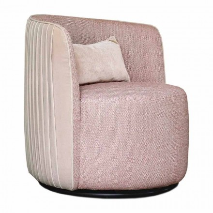 Swivel Living Room Armchair in Fabric and Black Metal Made in Italy - Lavender