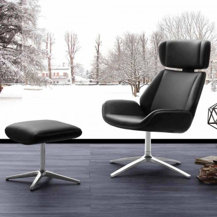 Modern swivel armchair with pouf in eco-leather and aluminum Amalfi