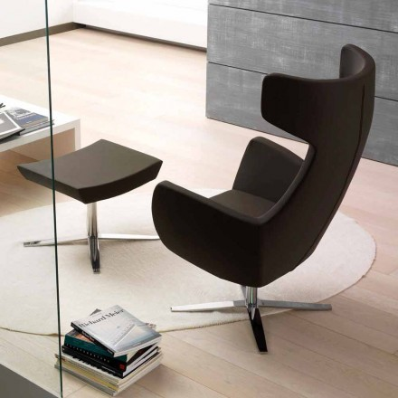 Eco-leather armchair with swivel chromed or black base – Clio