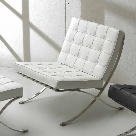 Quilted armchair Morella with ecoleather upholstery, modern design