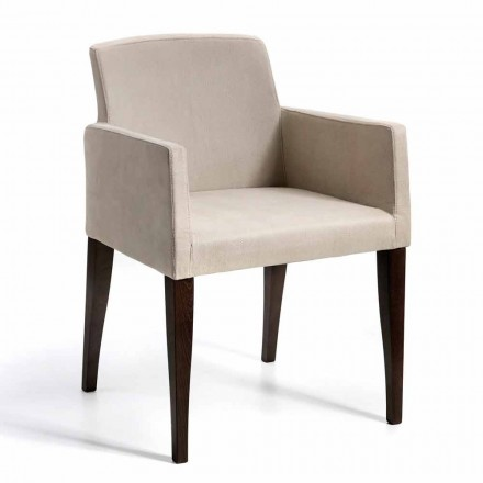 Armchair on faux leather and wood, modern design, Omega made in Italy