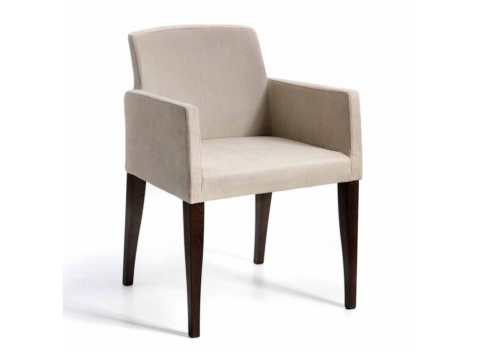 Omega modern design faux leather and wood armchair, made in Italy