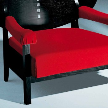 Armchair in Black Stained Ash with Cotton Upholstery Made in Italy - Peleo
