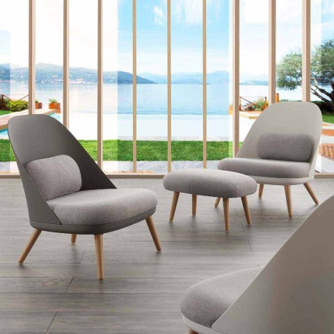 Armchair in wood, fabric and modern polypropylene made in Italy Perugia