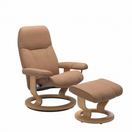 Relaxing Leather Reclining Armchair with Ottoman – Stressless Consul