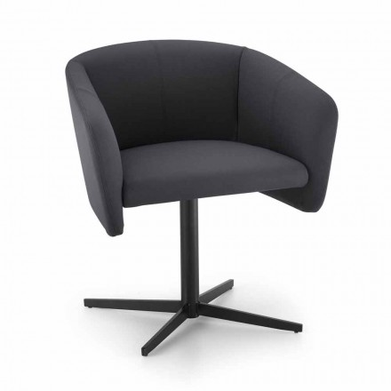 Fabric Armchair with Swivel Base in Luxury Metal Made in Italy - Bergen