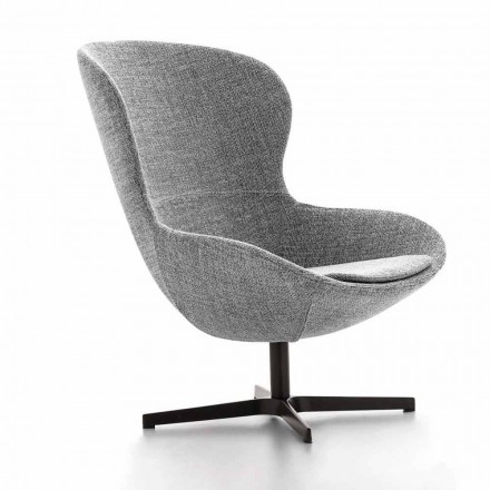 Fabric Armchair with Swivel Base in Precious Metal Made in Italy - Papaya