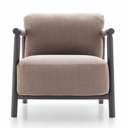 Fabric Armchair with Base in Ash Wood and Leather Made in Italy - Guava