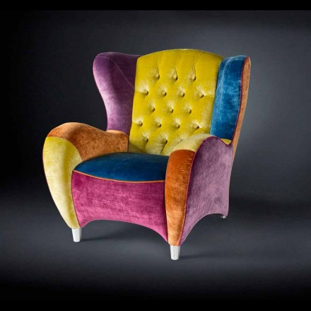 Velvet armchair Schinke, with buttoned upholstery, modern design