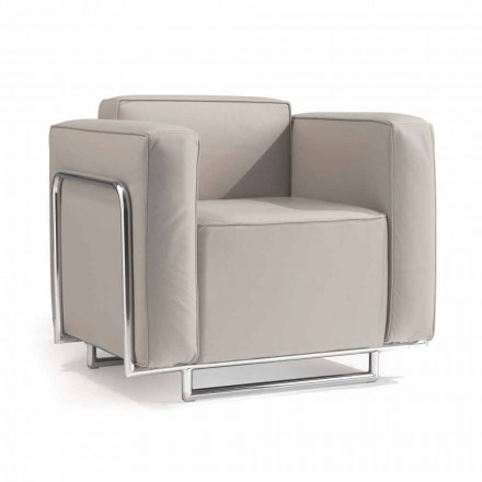Modern design eco-leather armchair Bugola, with chromed structure