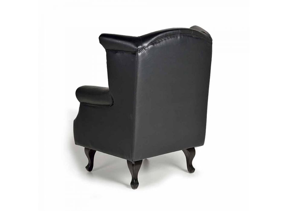 Black Armchair Upholstered in Synthetic Leather with Design Cushion - Goticana