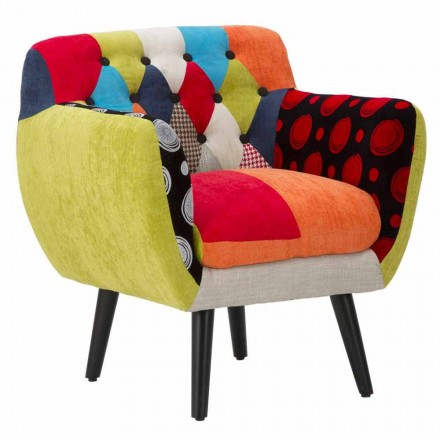 Colorful Patchwork Modern Design Armchair in Fabric and Wood - Koria