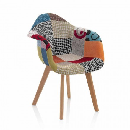 Patchwork Design Armchair in Fabric with Wooden Legs, 2 Pieces - Selena