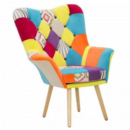 Patchwork Modern Design Armchair in Fabric and Wood - Karin