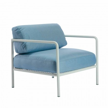 Outdoor Armchair with Fabric and Metal Armrests Made in Italy - Cola