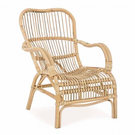 Garden Armchair in Natural Rattan for Outdoor Design - Melizia